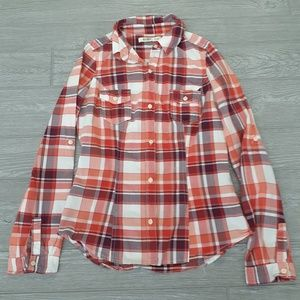 Old Navy red plaid long sleeve button down shirt